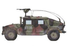 HMMWV M1114, este vehículo va equipado con una ametralladora M240 de 7,60 mm, 1er Batallón del 77º Regimiento, Kosovo, 1999. Pin by Paolo Marzioli Hummer, Army Usa, Offroad, Ranger, Matchbox Cars, Law Enforcement, Warfare, Military Vehicles, Zombies