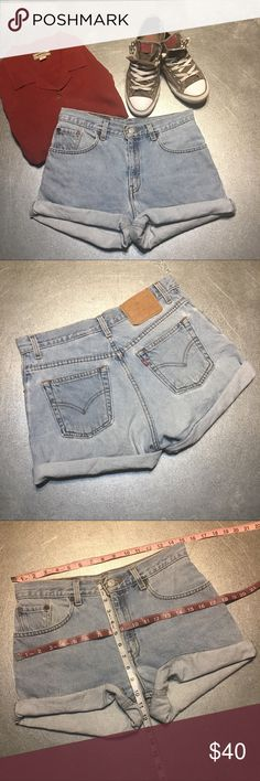 Vintage High Waisted Levi Shorts, Light Wash A vintage high waist shorts, wider through the hips to be rolled or unrolled for a perfect vintage look, like those features in H&M or Urban Outfitters! Best to fit a size 30 but please refer to pictures for measurements. 100% non stretch Cotton Denim! Most reasonable offers are accepted and I love to bundle so check out the rest of my closet! And thanks, but no trades. Follow me for more Levi's! Thanks for shopping! 😍 Levi's Shorts Jean Shorts