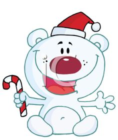 Royalty Free Clipart Image of a Polar Bear With a Candy Cane