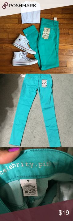 """Celebrity Pink Skinny Pants Favorite skinny jeans, updated with soft and stretchy fabric with bold colors to bright your day. Brand new with tags. Approx 31"""" inseam, 28"""" waist.  Size 7 Celebrity Pink Pants Skinny"""