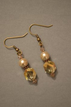 Gold gemstone and pearl earrings by Kellyscharm on Etsy, $10.00