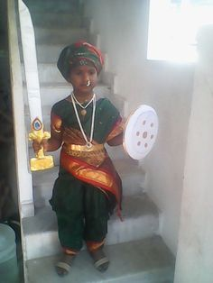 My daughter's Jhansi Rani costume made by me Baby Fancy Dress, Sumo, Dress Ideas, Daughter, Costumes, Jewellery, Inspired, Birthday, Dresses