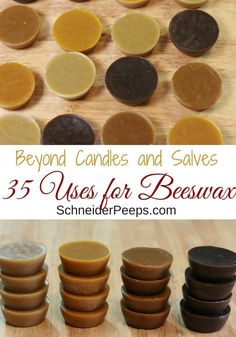 Over 35 Beeswax Uses for Your Body and Home There are so many uses for beeswax that go beyond beeswax candles and salves – those are fun but so are lotions and growing mushrooms and wood polish. Beeswax Candles, Diy Candles, Candle Decorations, Bee Wax Uses, Beeswax Recipes, Raising Bees, Candle Making Business, Growing Mushrooms, Bee Friendly