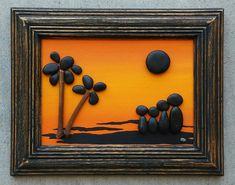 """Del guijarro del arte, roca, guijarro arte familia, familia del arte de la roca, puesta de sol, playa, palmeras, mar, vacaciones en familia, marco """"abierto"""" 5 x 7, ENVÍO GRATIS"""