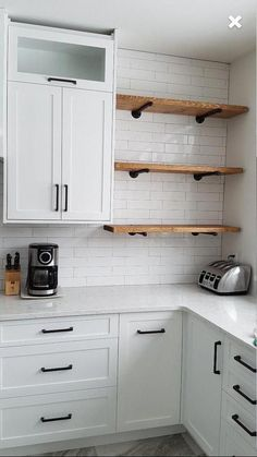 New kitchen tiles white backsplash open shelving Ideas Wood Kitchen Cabinets, Kitchen Shelves, Kitchen Tiles, Kitchen Colors, Kitchen Storage, White Cabinets, Kitchen Organization, Kitchen Pantry, Farmhouse Cabinets