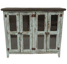 Taos Antique Turquoise 4 Door Curio Cabinet