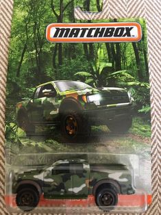 Matchbox Ford SVT Raptor Camouflage Truck Great condition still in Long Card. Custom Hot Wheels, Hot Wheels Cars, Dump Trucks, Pickup Trucks, Ford Police, Svt Raptor, Ford Raptor, Slot Car Tracks, Ford F Series