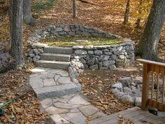 ❧ Meditation area, dry laid field-stone with granite walk and steps / Gray