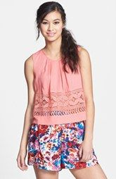 Chloe K Crochet Trim Tank (Juniors)