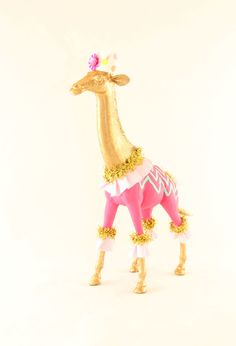 Gold giraffe cake topper. Circus party, and zoo party decor.  Painted Parade on Etsy