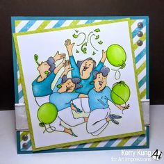 Art Impressions Rubber Stamps:  Ai Girlfriends Party Girl set (SKU#4131) Handmade birthday card.