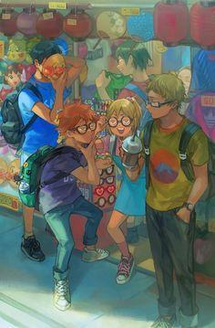 Kage, hina, yashi, tsukky y yama Haikyuu Tumblr, Haikyuu Karasuno, Haikyuu Funny, Haikyuu Manga, Haikyuu Fanart, Kagehina, Hinata, Comic Anime, Manga Anime
