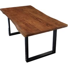 Ryegate Dining Table Brayden Studio Tabletop colour: Natural acacia wood, Frame colour: Black, Size: H x L x W Colored Dining Chairs, Solid Wood Dining Table, Extendable Dining Table, Table And Chairs, Dining Tables, Scandinavian Dining Table, Pine Table, Under The Table, Steel Table