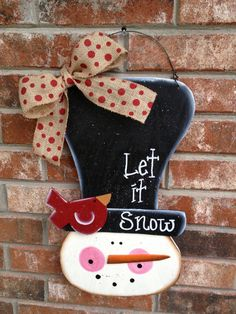 Whimsical Snowman Door Hanger Let It Snow Sign Christmas Wood Decor Sign Christmas Wood Crafts, Snowman Crafts, Christmas Door, Christmas Signs, Christmas Snowman, Christmas Projects, Winter Christmas, All Things Christmas, Holiday Crafts