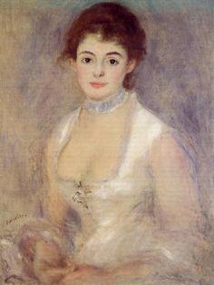 르누아르 - 앙리오 부인 앙리오 부인은 당시 파리 연극계의 최고 스타라고 한다. 그리고 상당히 친했는지 그의그림에 자주 등장하다. 르누아르의 초상화들을 볼때 특징적으로 보이는 것은 그가 여인들의 눈을 정말 아름답게 잘 그린다는 것이다. 또한 그는 비쩍 마른 사람을 그리는 것을 그닥 좋아하지 않는다. 그의 그림을 보면 대부분 다 풍만하고 불이 붉은 건강해보이는 여성들 뿐이다. 그런데 이 작품은 약간 예외적으로 비교적 마른 형태로 되어있고, 몸색이 붉어 보이지도 않는다. 오히려 창백하고 옷까지 하얗게 그려 신비스러운 느낌을 자아내는 듯 하다. 그래서 이 그림은 르누아르의 전형적인 작품이라고는 할 수 없지만 그 만의 아름다움이 느껴지는 그림이다.
