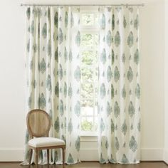 Lindy Drapery Panel, Ballard Designs. I like this material pattern. Would prefer pinch pleat though, I think.