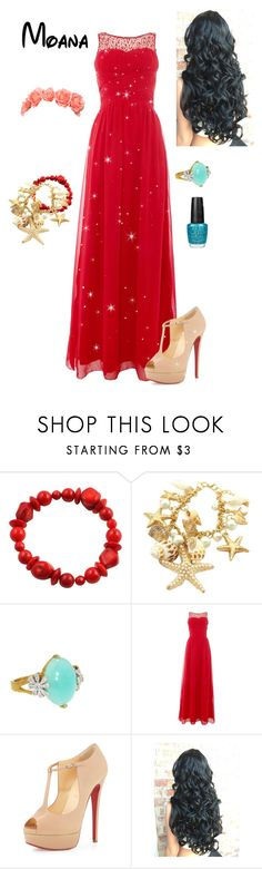 """Disney - Princess Moana"" by briony-jae ❤ liked on Polyvore featuring Barse, Cathy Waterman, Little Mistress, Christian Louboutin and OPI"