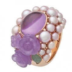 Amethyst and pearl ring by Mimi Purple Jewelry, Amethyst Jewelry, Pearl Jewelry, Fine Jewelry, Unique Jewelry, Pearl Rings, Amethyst Rings, Stone Rings, Jewelry Box