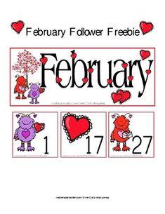 February Follower Freebie!Fun printable February calendar set ready for your calendar pocketchart at the perfect price!