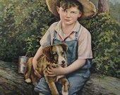 Boy with Dog Calendar Art