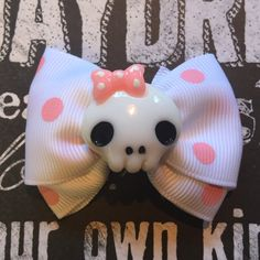 """2"""" Girly Skull Mini Bow by HodgePodgeBowtique on Etsy"""