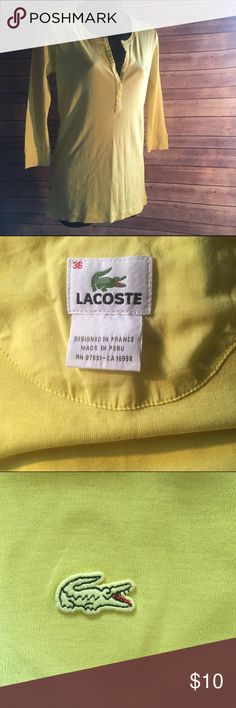 Lacoste 3/4 sleeve button top. Perfect for spring! Preowned and in great condition, this beautiful yellow Lacoste top features a 5 button v neck and no signs of wear. It is a size S/36/8 and made of 100% cotton. Lacoste Tops
