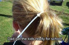 Dad get the kids ready for school.