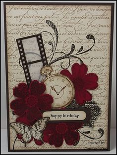 Vintage Flower Shop -Clockworks, Everything Eleanor, Flower Shop, Papillon Potpourri, Teeny Tiny Sentiments Butterfly Cards, Flower Cards, Cute Cards, Diy Cards, Card Making Inspiration, Happy Birthday Cards, Birthday Greetings, Card Tags, Creative Cards