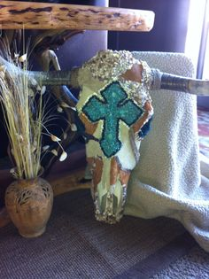 Leather and turquoise cross steer skull Free shipping on Etsy, $324.99