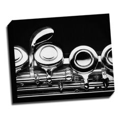 Flute Macro Photo 16x20 Music Art Printed on Framed Ready to Hang Canvas