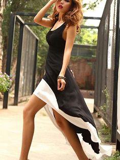 Highlight Comfort Asymmetrical Lap Tank Black Dresses  Black Dresses from stylishplus.com