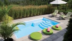 Piscine F-20 | Fibro Outdoor Life, Outdoor Pool, Outdoor Gardens, Outdoor Living, Backyard Pool Designs, Backyard Pools, Backyard Ideas, Pool Pavers, Pool Steps