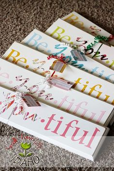 Be * YOU * tiful signs . wood, paint, paper letters, and modge podge. Camp Craft or YW Activity. Gift for New Beginnings, Young Women in Excellence. Activity Day Girls, Activity Days, Craft Projects, Projects To Try, Craft Ideas, Wood Projects, Project Ideas, Diy Ideas, Party Ideas