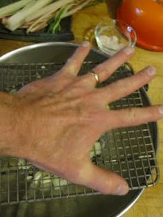 Push avacado halves thru a cooling rack and slide the skin off for a quick dice.Also works for mangos and boiled potatos (for salads).