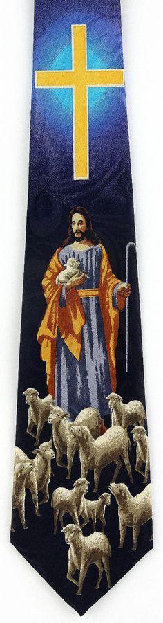 Shepherd Lord Mens Necktie Christian Religious Jesus Cross Lamb Gift Tie New #StevenHarris #NeckTie