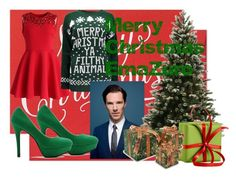 A fashion look from December 2014 featuring short red cocktail dress, animal jumpers and high heel court shoes. Browse and shop related looks. Benedict Cumberbatch, Famous People, Merry, Sugar, Christmas Ornaments, Holiday Decor, Paper, Polyvore, Stuff To Buy
