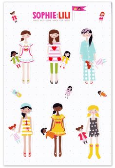 "4 x 6"" sheet of high quality matte stickers. 6 die cut girls"