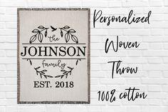 Personalized Bird Wreath Family Monogram Cotton Woven Throw Blanket Custom Family Last Name Blanket Established Print Date Anniversary Gift Graduation Shirts For Family, Blanket Design, Johnson Family, Monogram Wreath, Family Gifts, Newlyweds, Mistakes, Spelling
