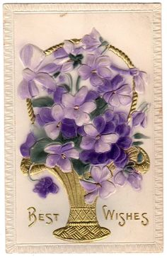Antique Embossed Purple Violets Postcard Airbrushed Early 1900s.  via Etsy.
