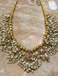 Old Indian Jewelry Design - Guttapusalu Haram Old Antique Jewelry Beaded Jewelry Designs, Jewelry Design Earrings, Gold Jewellery Design, Jewelry Patterns, Fancy Jewellery, Designer Jewelry, Indian Jewelry Sets, Royal Jewelry, India Jewelry