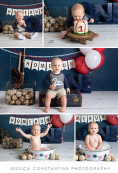 Jessica Constantine Photography 1st birthday- baseball themed cake smash So much fun!