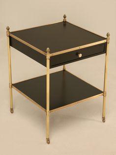 Vintage French Ebonized Mahogany Table w/Brass Highlights & Drawer