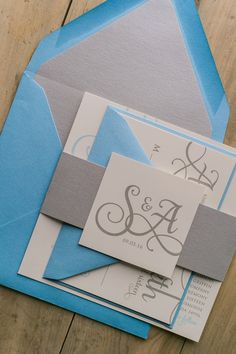 Beautiful Blue and Silver Romantic Wedding Invitations by Just Invite Me