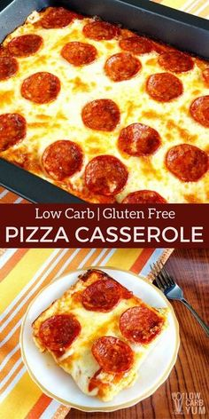 A delicious keto low carb pizza casserole that will be enjoyed by all. And, the easy to make gluten free crust is made with every day ingredients.   LowCarbYum.com via @lowcarbyum