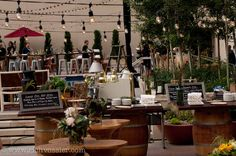 Many food stations and different displays create a wow factor for a private event on our outdoor rooftop pool terrace.