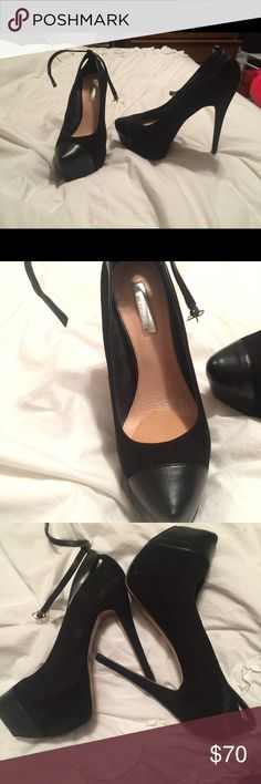 OBO! Black pumps with ankle strap! OBO These super cute black pumps have only been worn ONCE! There's a thin ankle strap. Cushion for your toes and feet. Rubber on the bottom to prevent sliding. Suede and leather. Perfect for any occasion! Shoot me an offer! H by Halston Shoes Heels