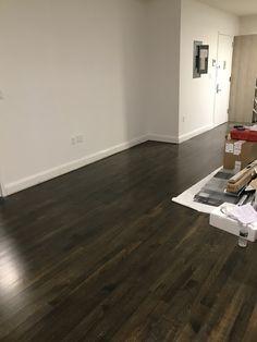 Minawax Stain Floors:  50/50 ebony and classic grey. Satin Finish   Paint: Benjamin Moore Super White, matte finish