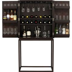 Like the wine glass storage. there isn't really a place to mix or enough booze/wine storage on the inside. At Home Furniture Store, Bar Furniture, Cabinet Furniture, Furniture Storage, Wine Cabinets, Storage Cabinets, Storage Shelves, Drinks Cabinet, Liquor Cabinet