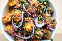 FrugivoreMag.com: Butternut Squash and Kale with Red Quinoa with Ginger Vinaigrette