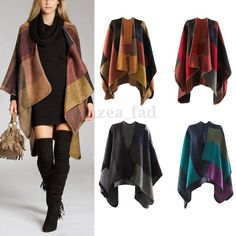 Celeb Women Knitted Autumn Winter Tartan Check Blanket Wrap Shawl Poncho Cape